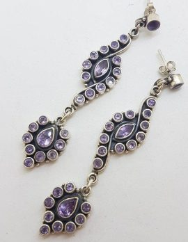 Sterling Silver Very Long and Exquisite Amethyst Cluster Drop Earrings