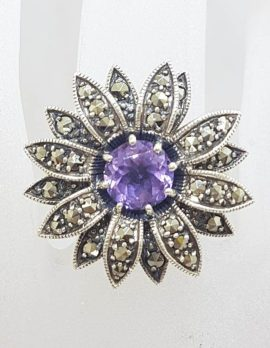 Sterling Silver Vintage Marcasite & Amethyst Large Flower Ring
