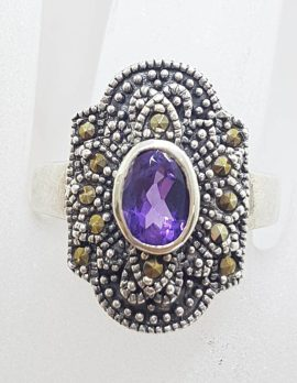 Sterling Silver Marcasite & Amethyst Elongated Ring