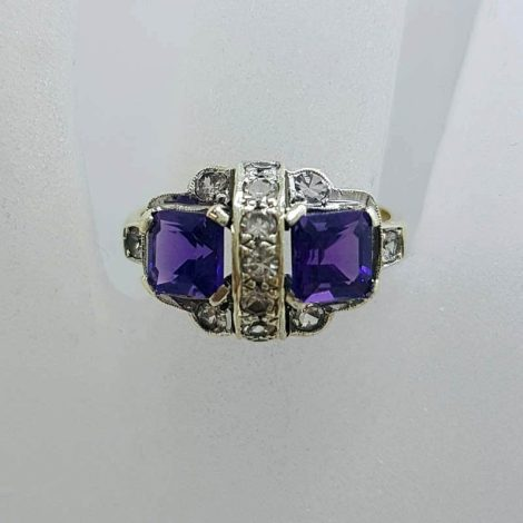 9ct Yellow Gold Two Square Amethysts with Cubic Zirconia Art Deco Cluster Ring