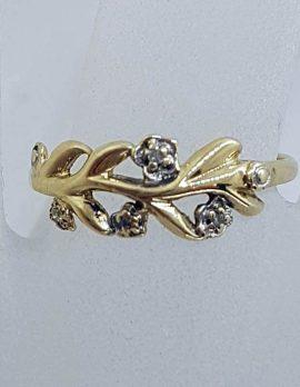9ct Yellow Gold Diamond Leaf Design Ring - Dainty
