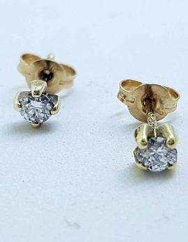 9ct Yellow Gold Diamond Dainty Stud Earrings