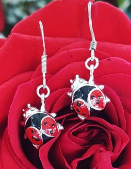 Sterling Silver and Red Enamel Ladybird / Ladybug Drop Earrings