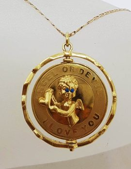 """14ct Yellow Gold Very Large Round Spinner Pendant with Saying """" Angel or Devil - I love you """" comes on Gold Chain"""