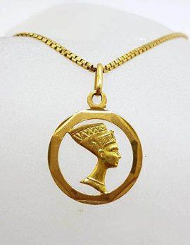 18ct Yellow Gold Nefertiti Pendant on Gold Chain