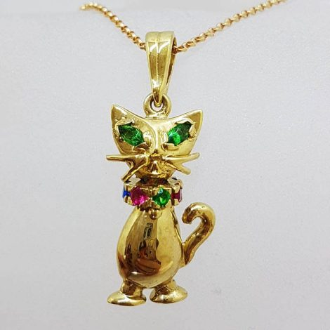 9ct Yellow Gold Multi-Coloured Stone Jointed Harlequin Cat Pendant on Gold Chain