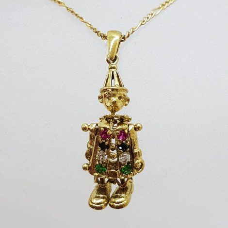 9ct Yellow Gold Multi-Coloured Stone Jointed Harlequin Clown Pendant on Gold Chain