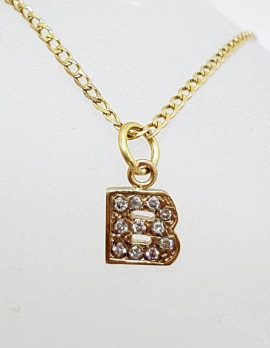 9ct Yellow Gold Initial / Letter B Diamond Pendant on Gold Chain
