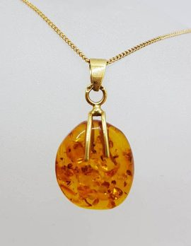 14ct Yellow Gold Natural Amber Pendant on 9ct Chain