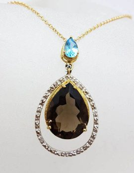 9ct Yellow Gold Large Teardrop / Pear Shape Smokey Quartz with Topaz and Diamonds Pendant on 9ct Chain