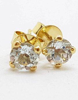 9ct Yellow Gold Aquamarine Round Claw Set Stud Earrings