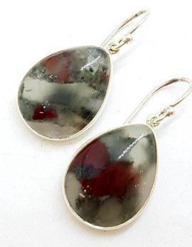 Sterling Silver Teardrop / Pear Shape Bezel Set Large Dragon Blood Jasper Drop Earrings