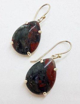 Sterling Silver Teardrop / Pear Shape Claw Set Large Dragon Blood Jasper Drop Earrings