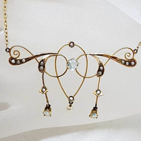 9ct Yellow Gold Aquamarine and Seedpearl Necklace - Antique / Vintage