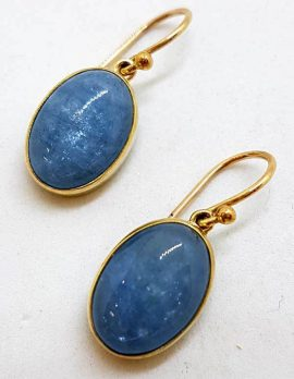 9ct Yellow Gold Aquamarine Cabochon Oval Drop Earrings