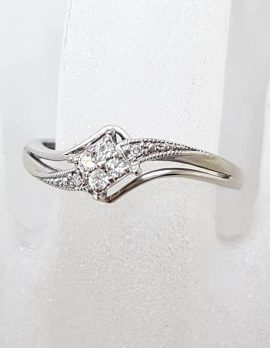 10ct White Gold Diamond Twist Design Dress Ring - Engagement Ring