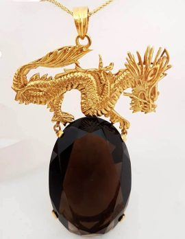 14ct Yellow Gold Large Oval Smokey Quartz Stone on Dragon Pendant with 9ct Gold Chain