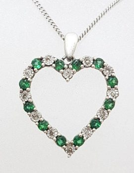 Sterling Silver Emerald and Diamond Heart Pendant on Silver Chain - Vintage