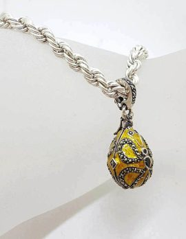 Sterling Silver Marcasite with Yellow Enamel Faberge Style Egg (which opens) Enhancer Pendant on Sterling Silver Thick Twist Rope Chain