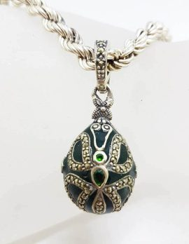 Sterling Silver Marcasite with Green Enamel Faberge Style Egg (which opens) Pendant on Sterling Silver Thick Twist Chain