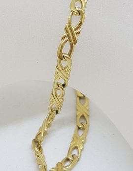 9ct Yellow Gold Long Unusual and Beautiful Twist Link Bracelet