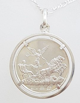 Sterling Silver Coin / Medallion Size Horoscope / Star Sign Pendant on Silver Chain - Vintage - One Side has Star Sign the other a man driving a two-horse chariot with a winged woman above - Aurora, Victory, or Psyche. Available in Various Starsigns