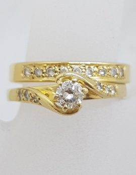 18ct Yellow Gold Twist Design Engagement Ring and Wedding Ring Set