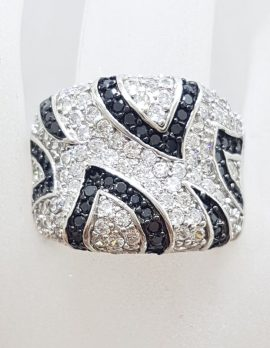Sterling Silver Very Wide Black and Clear Cubic Zirconia Ring with Stunning Pattern