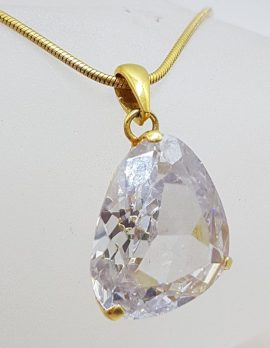Plated Large Crystal Pendant on Chain