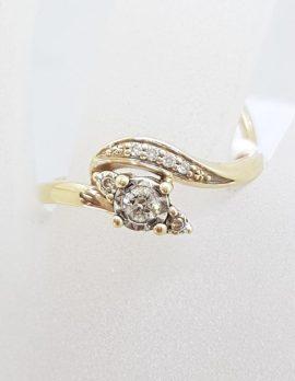 9ct Yellow Gold Diamond Twist Design Engagement Ring with Matching Wedding Ring Set