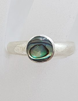 Sterling Silver Round Paua Shell Ring – Vintage