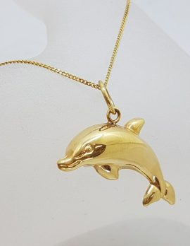9ct Yellow Gold Dolphin Pendant on Gold Chain
