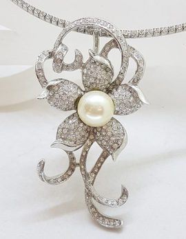 Plated with Swarovski Crystal Shimmer and Glitz and Faux Pearl Large Floral Pendant on Choker Chain / Necklace - Wedding / Debutante / Special Occasion
