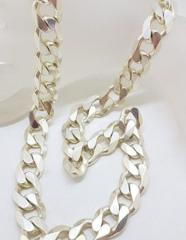 Sterling Silver Heavy and Thick Flat Curb Link Necklace / Chain - Gents Jewellery