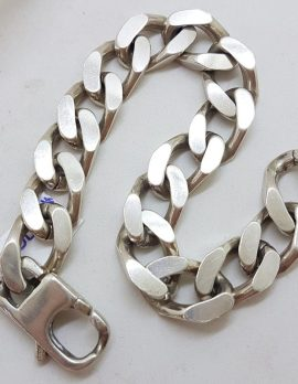 Sterling Silver Heavy and Thick Flat Curb Bracelet