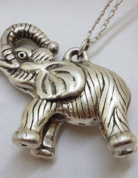 Sterling Silver Large Hollow Elephant Pendant with Trunk Up on Silver Chain