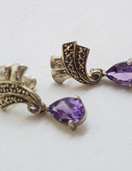 Sterling Silver Amethyst with Marcasite Drop Stud Earrings - Vintage