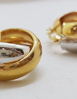 9ct Yellow Gold and White Gold - Two Tone - Wide Hoop Earrings