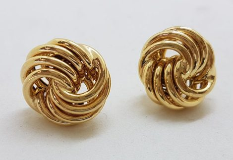 9ct Yellow Gold Large Twist / Knot Stud Earrings