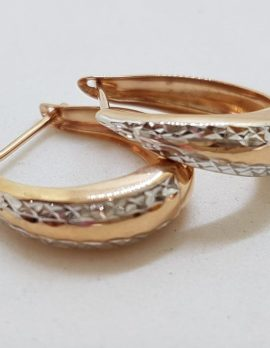 9ct Rose Gold and White Gold - Two Tone - Patterned Hoop Earrings