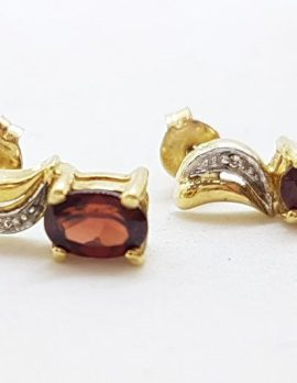 9ct Yellow Gold Oval Claw Set Garnet with Diamond Stud Earrings