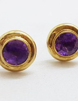 9ct Yellow Gold Round Amethyst Stud Earrings