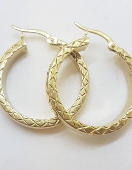 18ct Yellow Gold Patterned Large Hoop Earrings