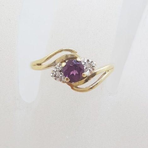 9ct Yellow Gold Round Rhodolite Garnet with Diamond Ring