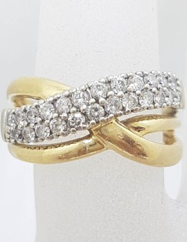 14ct Yellow Gold Wide Weaved Design Diamond Ring