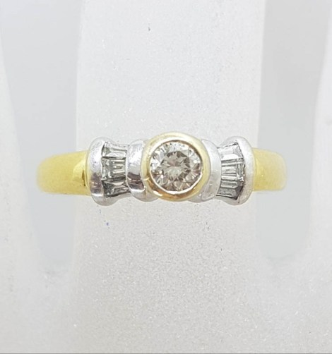 18ct Yellow Gold Bezel Set Round with Channel Set Baguette Diamond Ring - Engagement Ring / Dress Ring