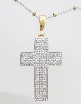 9ct Yellow Gold and White Gold Cross / Crucifix Diamond Pendant on Two Tone Gold Chain