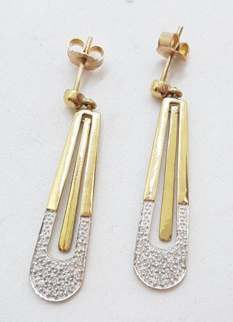 9ct Yellow Gold Long Diamond Drop Earrings