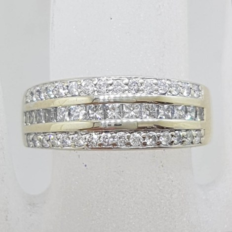 18ct White Gold White Channel Set and Pave Set Diamond Band Ring