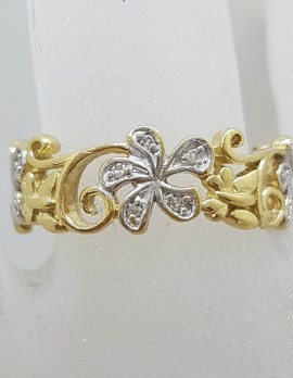 9ct Yellow Gold Ornate Filigree Floral Design Wide Diamond Ring / Band